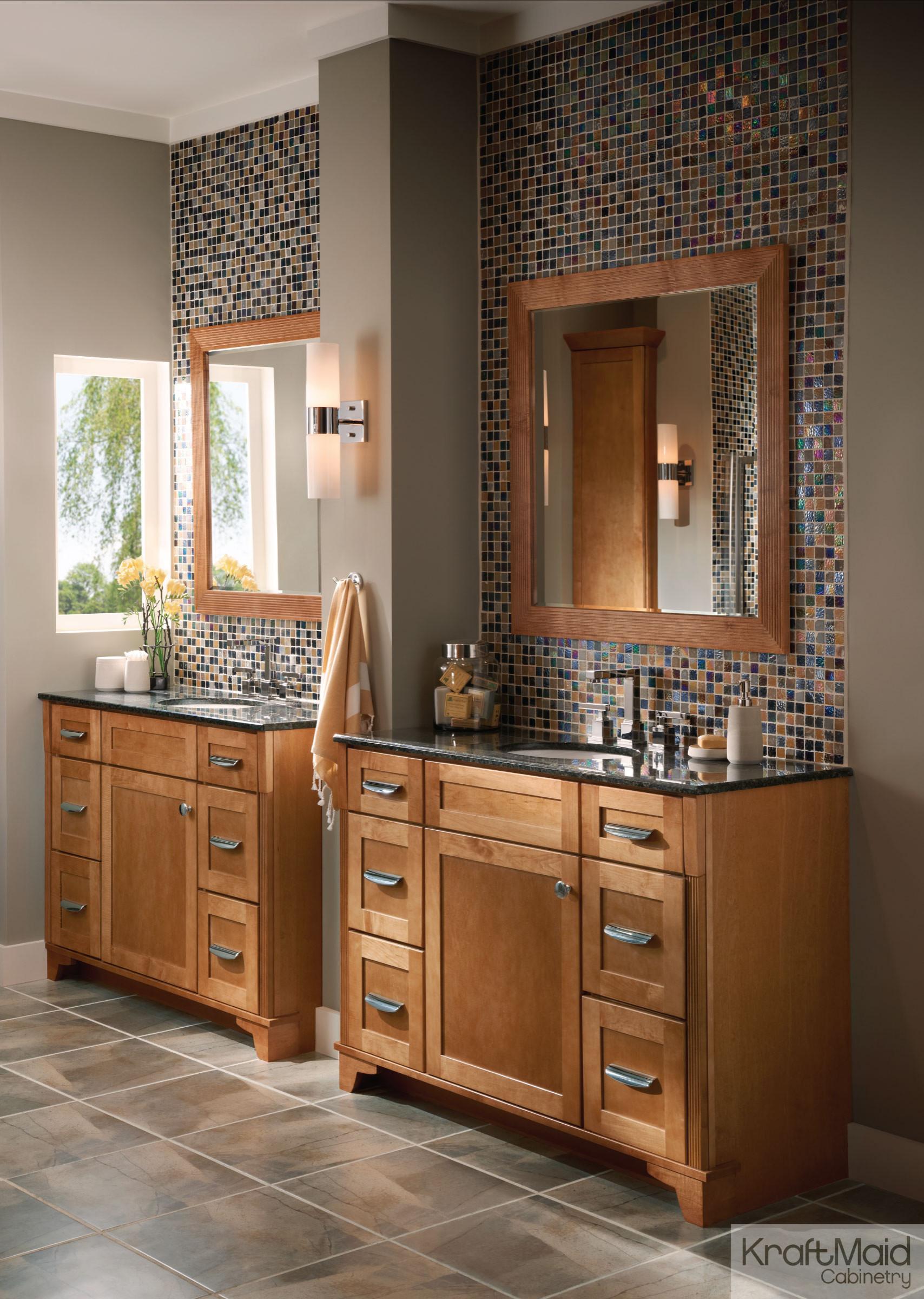 Kraftmaid Maple Square Recessed Panel Door In Praline Contemporary Bathroom Detroit By Kraftmaid Houzz