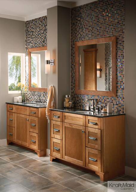 kraftmaid maple square recessed panel door in praline contemporary bathroom