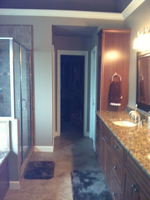 Kraftmaid montclair cherry square in rye finish Bathroom design centers atlanta
