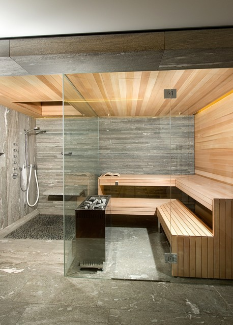 Kung saunas installs contemporary bathroom london for Building a sauna in the basement