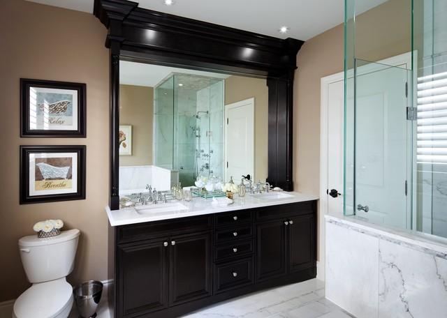 Kylemore model home oakley transitional bathroom for Model home bathrooms