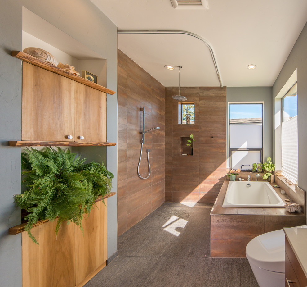 Bathroom - mid-sized contemporary master porcelain tile and gray floor bathroom idea in San Francisco with medium tone wood cabinets and gray walls