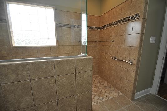L Shaped Shower Traditional Bathroom Raleigh By
