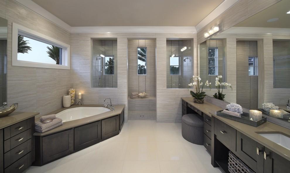 Inspiration for a contemporary corner bathtub remodel in Miami