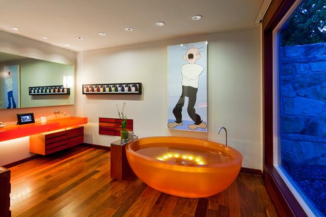 Water Cuarto De Baño:Orange Bathroom Modern Tub Teens