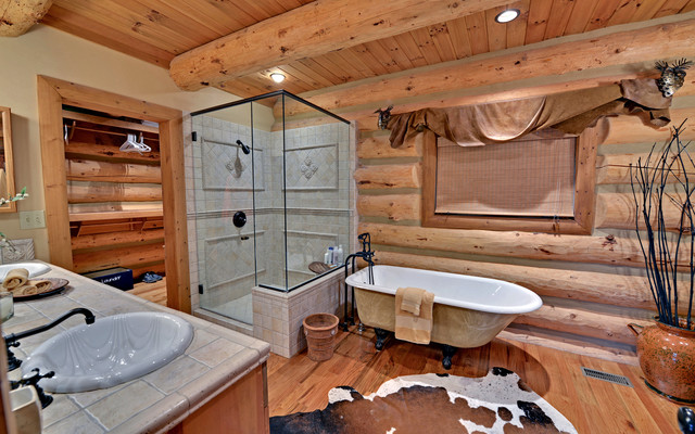 Lake Blue Ridge Custom Log Home Traditional Bathroom