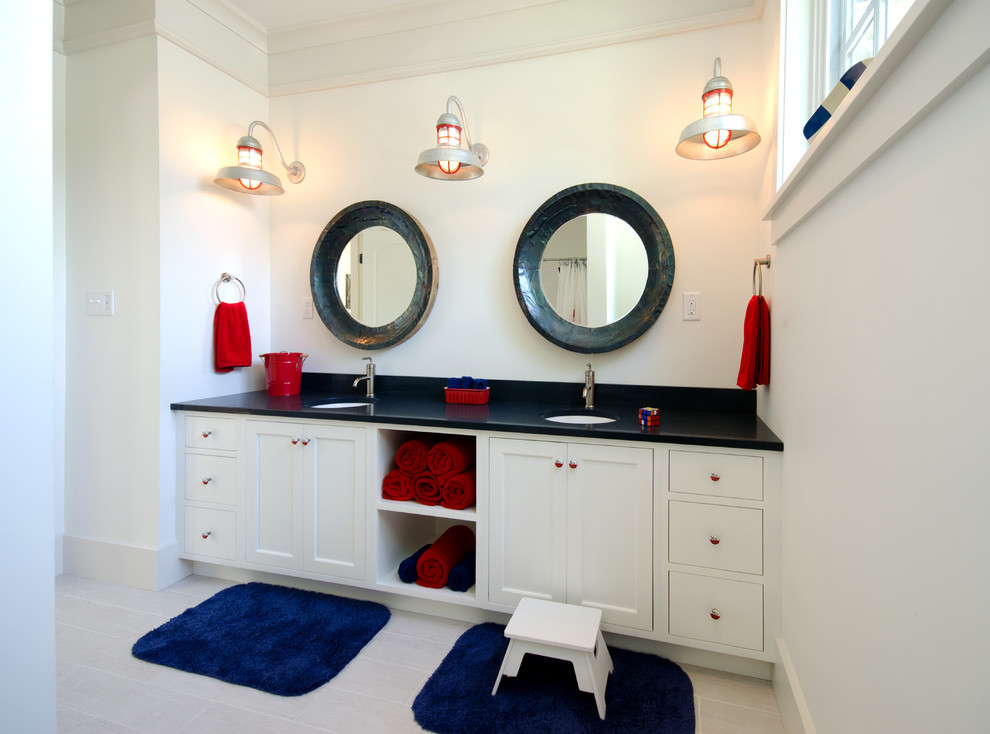 Inspiration for a coastal kids' bathroom remodel in Boston with white cabinets and shaker cabinets
