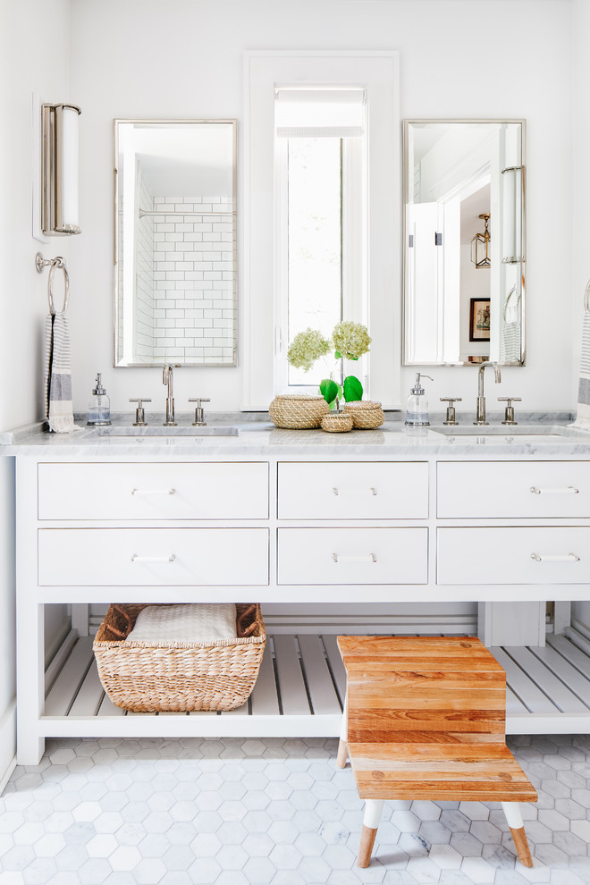 Bathroom - mid-sized coastal kids' mosaic tile floor and gray floor bathroom idea in Toronto with white cabinets, white walls, an undermount sink, marble countertops, gray countertops and furniture-like cabinets