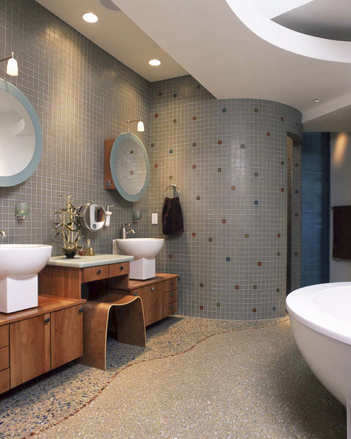 Inspiration for a contemporary mosaic tile bathroom remodel in Other with a vessel sink