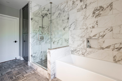 Marble Tile Shower and Soaker Tub in Portland OR