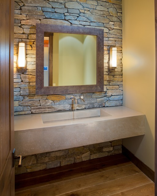 Lakeshore Mansion Custom Concrete Vanity With Integral Sink