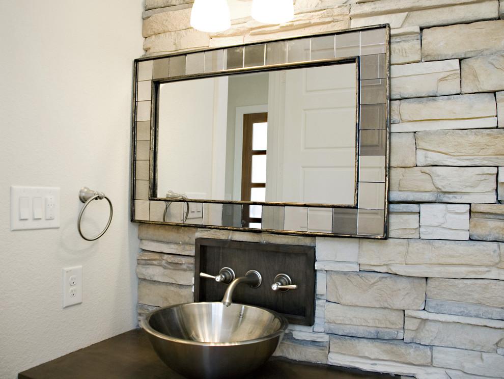 Bathroom - contemporary bathroom idea in Dallas with a vessel sink