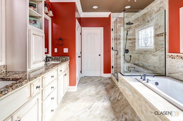 Inspiration for a timeless doorless shower remodel in Louisville