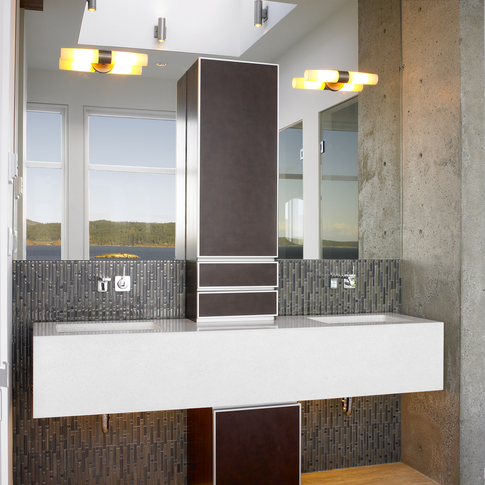 Inspiration for a contemporary gray tile and matchstick tile bathroom remodel in Vancouver