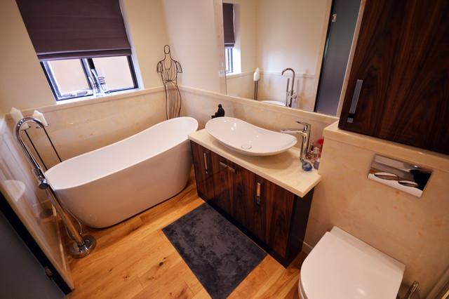 Langley Interiors Case Study Slipper Bath Marble Bathroom Contemporary