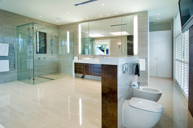 Beau Example Of A Trendy Beige Tile Alcove Shower Design In Melbourne With A  Vessel Sink,