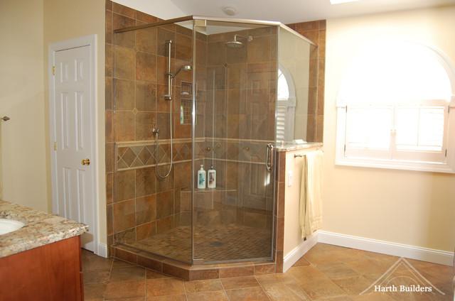 Large corner shower traditional bathroom