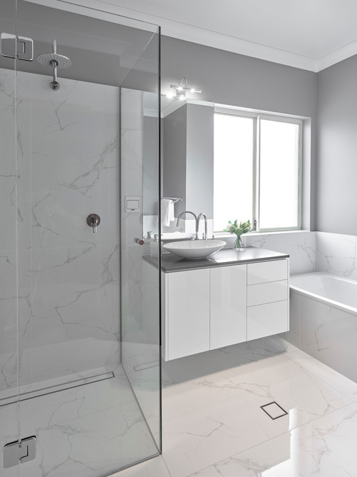 grey and white bathroom renovation