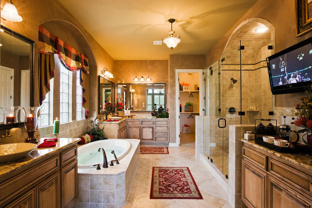 Large master bath with tub coffee service and plasma tv for Large master bathroom