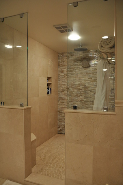 Large Tile Shower traditional-bathroom