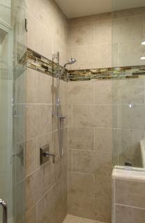 large tile shower in master bath - morgan hill, ca