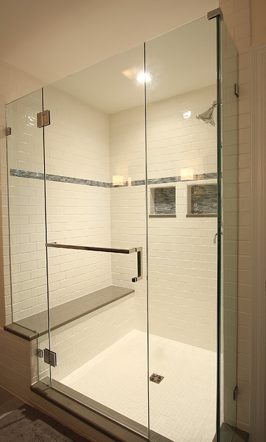 Large Tile Shower With Bench Traditional Bathroom Dc Metro
