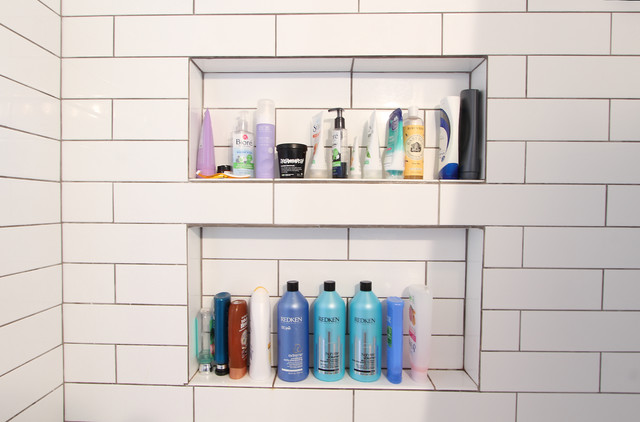 Large Tiled Shampoo Shelves For Salon Bottle Storage