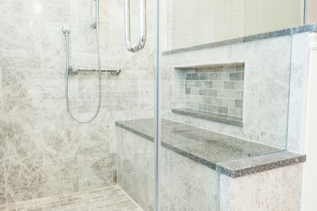 tiled shower seat design. Large tiled shower with bench and frameless glass enclosure  transitional bathroom