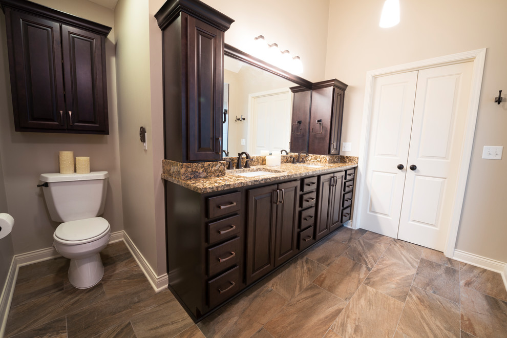 Large Vanity and Toilet Alcove - Transitional - Bathroom ...