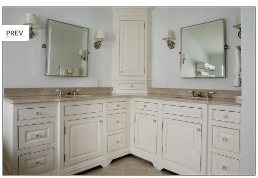 Large vanity w tower traditional bathroom for L shaped master bathroom layout