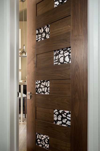 Las Vegas Modern Home   Interior Solid Wood Walnut Door With Glass Modern  Bathroom