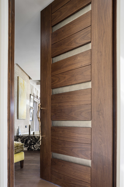 Las vegas modern home interior solid wood walnut door with leather