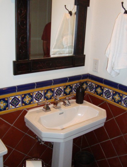 Blue 6x6 Tile Kids Bathroom With Mexican Tile Accent: Latin Theme Bathrooms