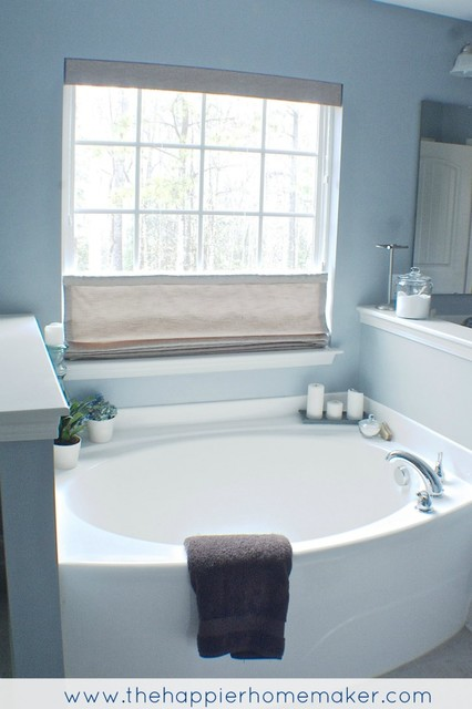Amazing Laura Ashley Flat Roman Shade In The Home Of Blogger Michelle. Traditional  Bathroom