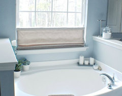 Laura Ashley Flat Roman Shade in the home of blogger Michelle. traditional-bathroom