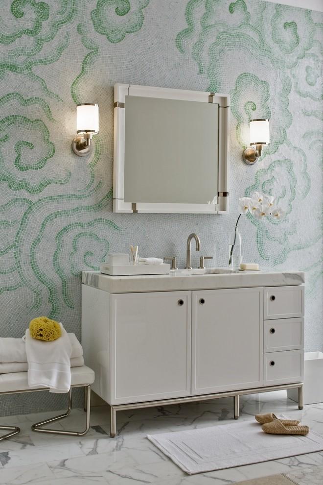 Trendy mosaic tile bathroom photo in Milwaukee