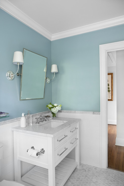 Traditional Blue Bathroom Designs : traditional bathroom design by chicago design-build Normandy ...
