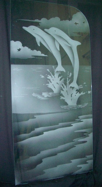 Leaping Dolphins Glass Shower Partition beach-style-bathroom
