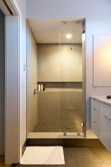 Leather district loft industrial bathroom boston for Economic bathroom designs