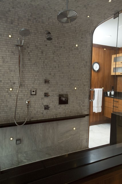 LED Lights And Curved Shower Ceiling. Traditional Bathroom