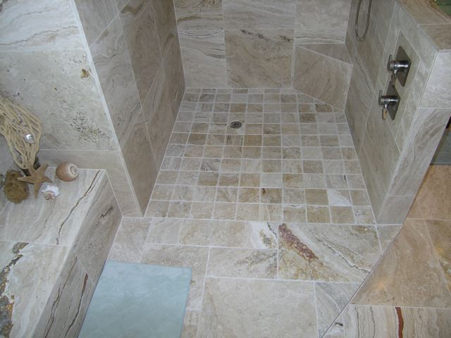 Leonardo Travertine Tiles beach-style-bathroom