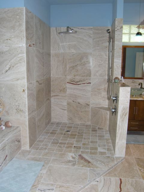 Leonardo travertine tiles beach style bathroom tampa for Travertine tile in bathroom ideas