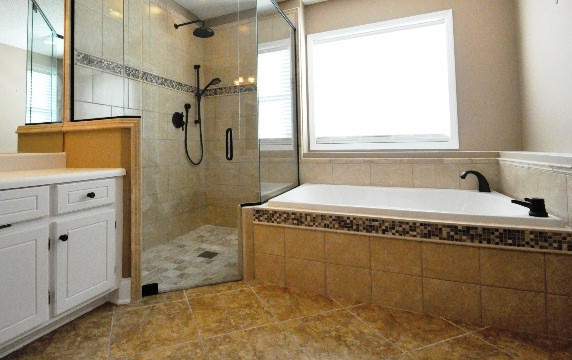 Level entry shower contemporary-bathroom