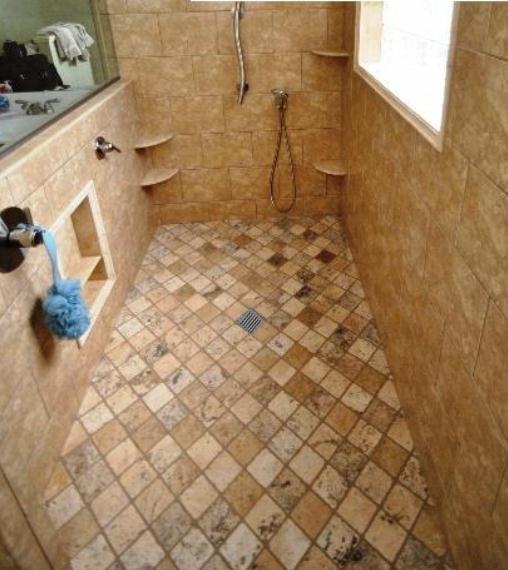 Level entry shower contemporary-bathroom