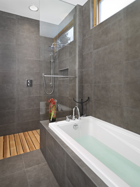 Modern Bathroom by thirdstone inc. [^] - 18 Knockout Ideas For Wooden Floor Showers