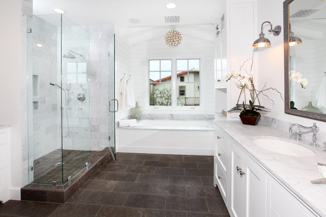 Brown And White Bathroom. Lido Isle traditional bathroom  Traditional Bathroom Orange County by Graystone