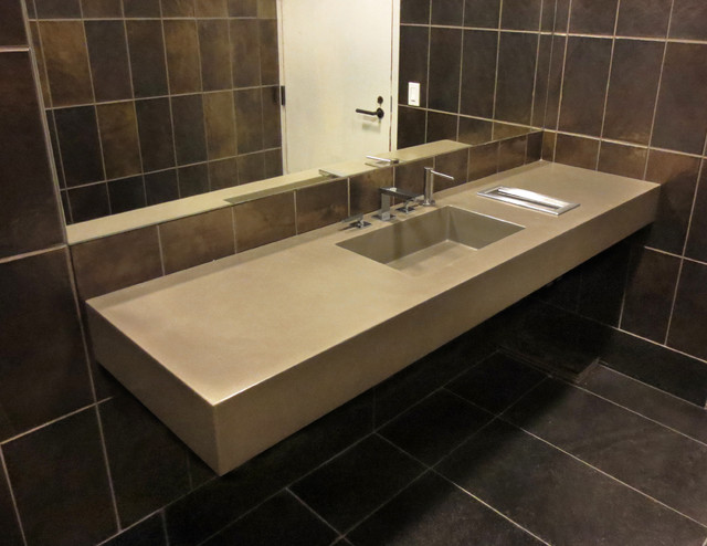 Light Brown ADA Floating Concrete Bathroom Sinks