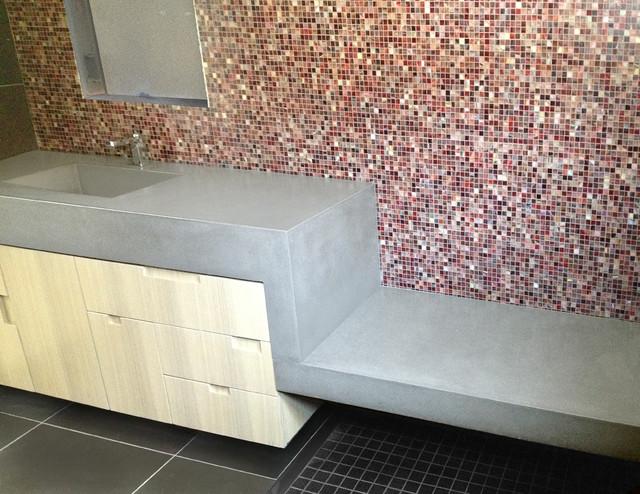 Light Gray Custom Concrete Vanity Bathroom Sink And Floating Shower Bench Modern