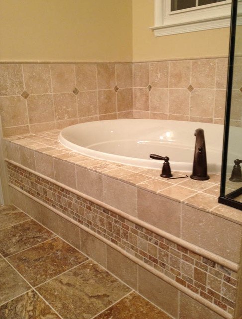 Light walnut and scabos travertine traditional for Travertine tile bathroom gallery