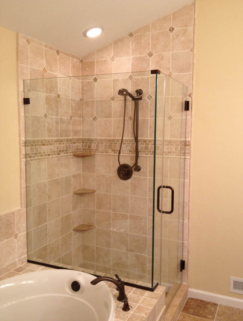 Light Walnut And Scabos Travertine Traditional